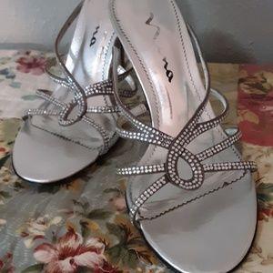 NINA Silver Crystal Heels 7